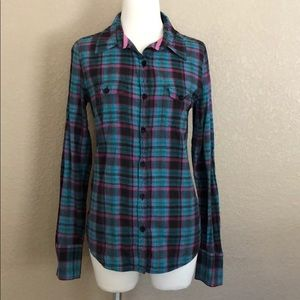 Roxy Teal, Black & Pink Plaid Fitted Button Down